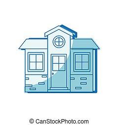青, シルエット, 家, 小さい, ファサド, 影で覆うこと