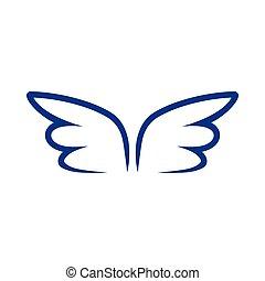 青, スタイル, 単純である, 輪郭, アイコン, 対, 翼