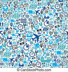 青, セット, パターン, seamless, 出荷, バックグラウンド。, ロジスティックである, アイコン