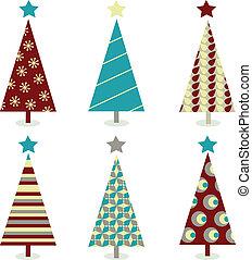 青, セット, 木, –, クリスマス, 赤, アイコン