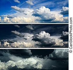 青, セット, 空, 嵐の空, -, 劇的
