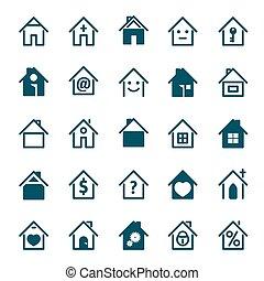 青, セット, illustration., 家, ベクトル, icon.