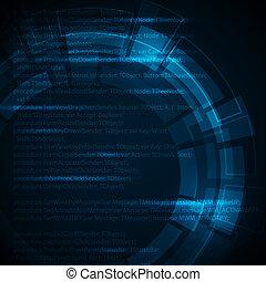 青, テクニカル, テキスト, 抽象的, 暗い, 場所, 背景, あなたの