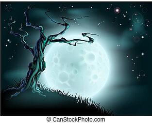 青, ハロウィーン, 木, 背景, 月