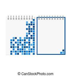 青, パターン, 幾何学的, ノート, らせん状に動きなさい