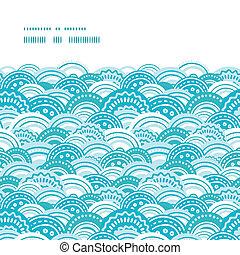 青, パターン, 抽象的, seamless, ベクトル, 背景, 波, 横, フレーム