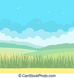 青, フィールド, 空, 風景, 自然