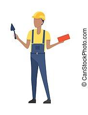 青, ヘルメット, 建築者, こて, brick., uniform.