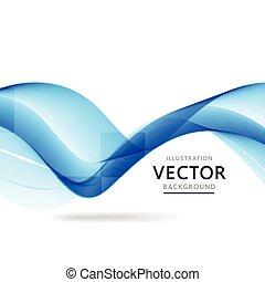 青, ベクトル, すてきである, 背景, 波