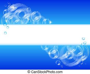 青, ベクトル, 泡, 背景