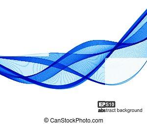 青, ベクトル, 波, バックグラウンド。, 抽象的