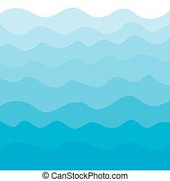 青, ベクトル, 海, waves-, 背景