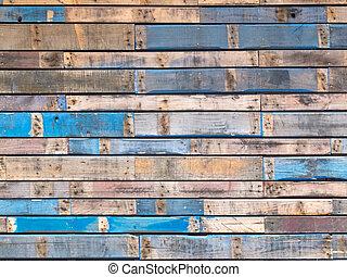 青, ペイントされた, 下見張り, 木, 外面, grungy, 板