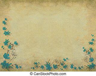 青, ボーダー, 半分, 花, 花