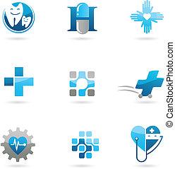 青, ロゴ, アイコン, ヘルスケア, 薬