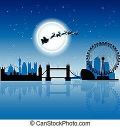 青, 上に, 空, イラスト, ベクトル, ロンドン, santa, 夜