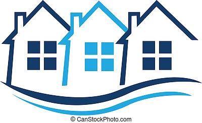 青, 不動産, 家, ベクトル, アイデンティティー, ロゴ, カード