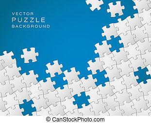 青, 作られた, パズル小片, ベクトル, 背景, 白