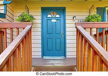 青, 入口, ドア, ポーチ