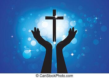 青, 円, 概念, キリスト教徒, 忠実, 神聖, イエス・キリスト, -, 交差点, 背景, 息子, 人, グラフィック, ベクトル, 信心深い, 星, 祈ること, 崇拝, ∥あるいは∥, lord(christ)