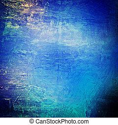 青, 古い, 壁, コンクリート, grungy