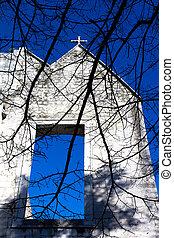 青, 古い, 空, 教会