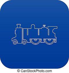 青, 古い, 蒸気, ベクトル, 機関車, アイコン
