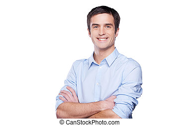 青, 地位, 保持, ワイシャツ, businessman., 若い, 隔離された, 見る, 確信した, 間, カメラ, 交差させた 腕, 肖像画, 白, 人, ハンサム