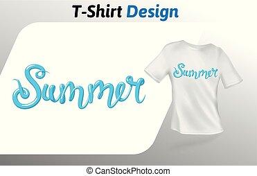 青, 夏, 単語, の上, 隔離された, tシャツ, バックグラウンド。, ベクトル, デザイン, 白, print., template., mock, テンプレート