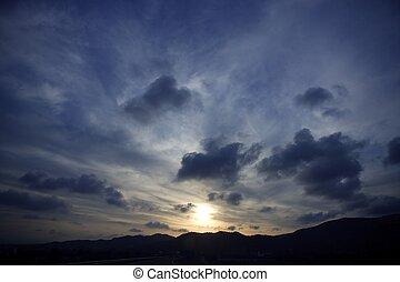 青, 夕方, 活気に満ちた, 空, 色, 劇的, 日没, 赤