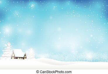 青, 夜, 冬, スペース, 家, 抽象的, 秋, 木, 雪, イラスト, 装飾, ベクトル, 背景, 時間, コピー, クリスマス, 風景