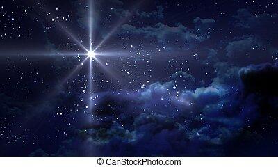 青, 夜, 星が多い