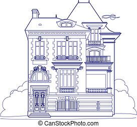 青, 大邸宅, 図画