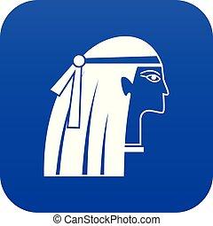 青, 女の子, デジタル, エジプト人, アイコン