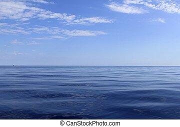青, 完全, 海, 海洋, 冷静, 地平線