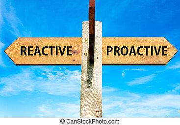 青, ∥対∥, 晴れわたった空, 反対, 木製である, 道標, 上に, 矢, 2, 行動, 反応, メッセージ, 概念的な イメージ, proactive