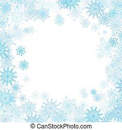 青, 小さい, フレーム, 雪片, 長方形