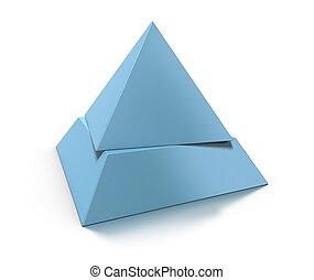 青, 層, ピラミッド, 調子, 上に, シフトした, レベル, 2, 背景, 白, 3d