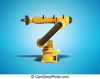 青, 工業用ロボット, レンダリング, 背景, 3d