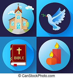 青, 平ら, セット, 古い, illustration., アイコン, 色, 蝋燭, 宗教, ベクトル, デザイン, 鳩, 教会, 本, 聖書