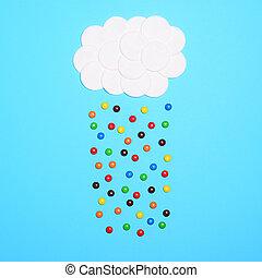 青, 平ら, 雲, -, に対して, 多彩, 甘いもの, 位置, 背景, 落ちる, 綿