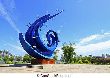 青, 彫刻, 広場