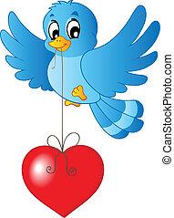 青, 心, ひも, 鳥