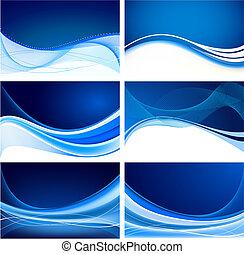 青, 抽象的, セット, 背景, ベクトル