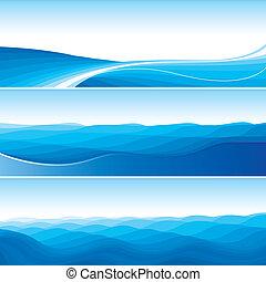 青, 抽象的, セット, 背景, 波