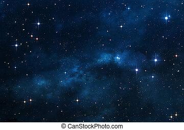 青, 星雲, 背景, スペース