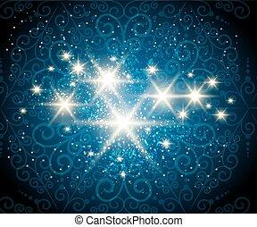 青, 星, 背景, 照ること
