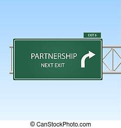 """青, 概念, イメージ, 空, 印, バックグラウンド。, 出口, """"partnership"""", ハイウェー"""