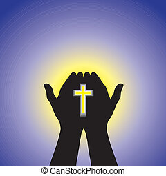青, 概念, キリスト教徒, キリスト, 太陽, ゆとり, -, 空, 交差点, 手, 人, 信心深い, 背景, 祈ること, 崇拝, ∥あるいは∥