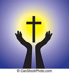 青, 概念, キリスト教徒, 忠実, 神聖, 太陽, ∥あるいは∥, -, 黄色, イエス・キリスト, 人, 信心深い, 背景, 祈ること, 崇拝, cross(christ), 十字架像